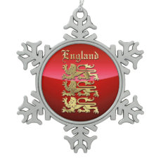 England - The Coat of Arms Snowflake Pewter Christmas Ornament