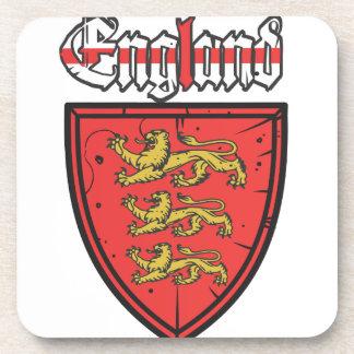 England Three Lions Wooden Shield Beverage Coaster