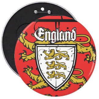 England Three Lions Wooden Shield Button