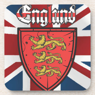 England Three Lions Wooden Shield Drink Coaster