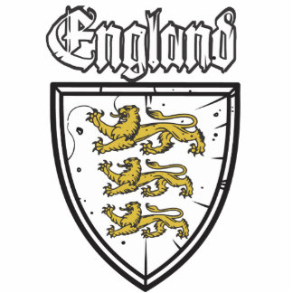 England Three Lions Wooden Shield Standing Photo Sculpture