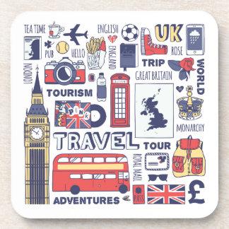 England Travel Doodles Beverage Coaster