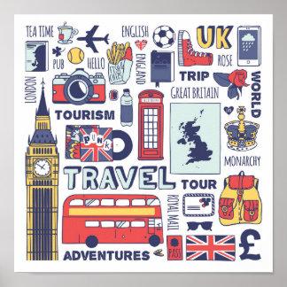 England Travel Doodles Poster