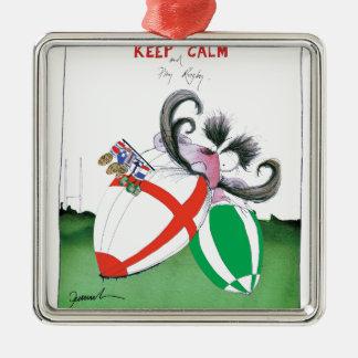 england v ireland rugby balls - from tony fernande metal ornament