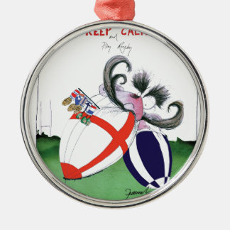 england v scoland rugby balls from tony fernandes metal ornament