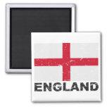 England Vintage Flag 2 Inch Square Magnet