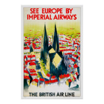 England Vintage Travel Poster Restored