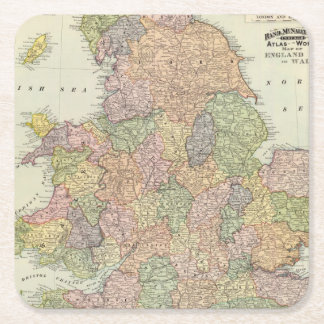 England, Wales 2 Square Paper Coaster