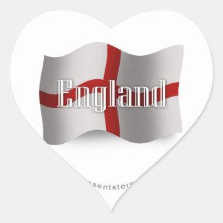 England Waving Flag Heart Sticker