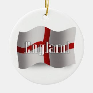 England Waving Flag Christmas Ornaments