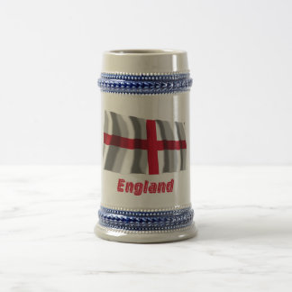 England Waving Flag with Name Beer Stein