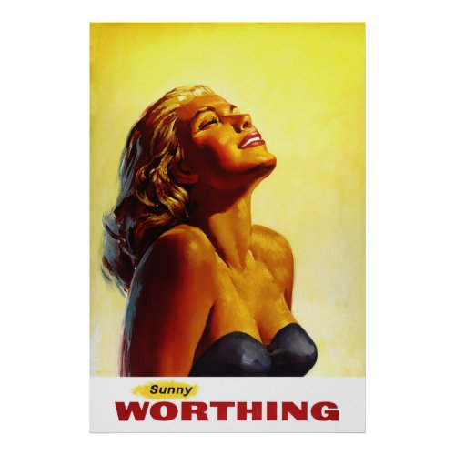 England Worthing Vintage Travel Poster Restored