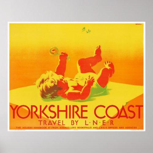 England Yorkshire Vintage Travel Poster Restored