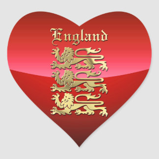 England's Coat of Arms. Heart Sticker