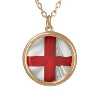 England's St George Cross Patriotic Flag Gold Plated Necklace