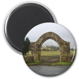 English Abbey gateway ruins 2 Inch Round Magnet