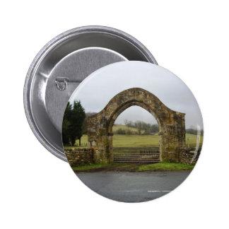 English Abbey gateway ruins Buttons