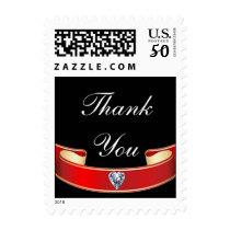 English Adagio Thank You Red Ribbon on Black Postage