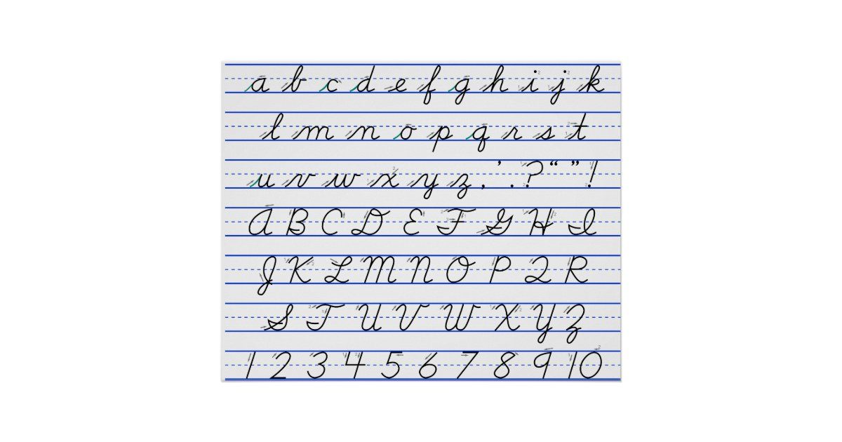 English Alphabet Diagram In Cursive Handwriting Poster