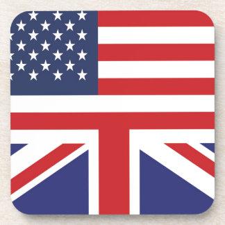 English American Flag 2 Beverage Coaster