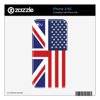 English American Flag 3 iPhone 4 Decal