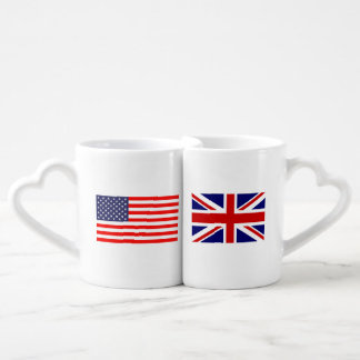 English American flag monogram lovers mug set