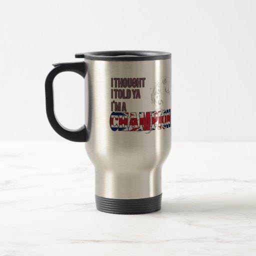 English and a Champion Coffee Mugs