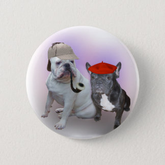 English and French bulldogs Pinback Button