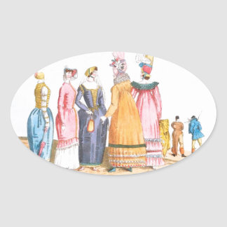 English and French Ladies Vintage Print Oval Sticker
