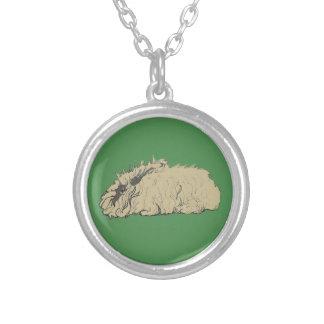 English Angora Rabbit Round Pendant Necklace