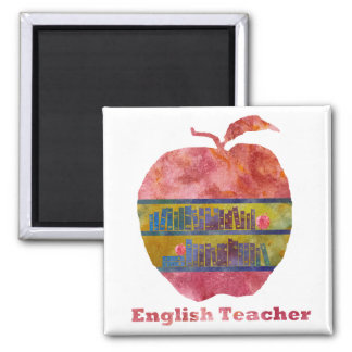 English Apple 2 Inch Square Magnet
