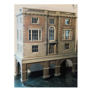 English balustraded doll's house with balcony postcard