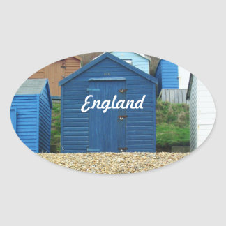 English Beach Oval Sticker