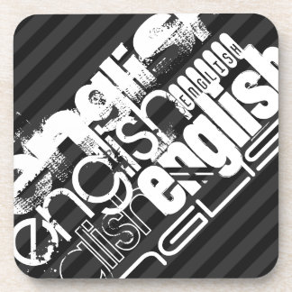 English; Black & Dark Gray Stripes Drink Coaster