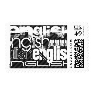 English; Black & Dark Gray Stripes Postage