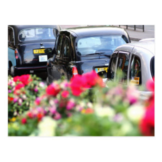 English Black Taxi Postcard