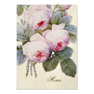 English Bourbon Rose Floral Custom Wedding Menu Card