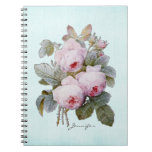 English Bourbon Rose Redoute Floral Personalized Spiral Notebook