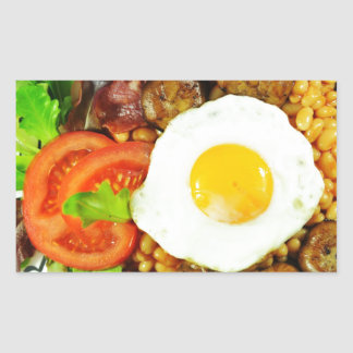 English breakfast design rectangular sticker