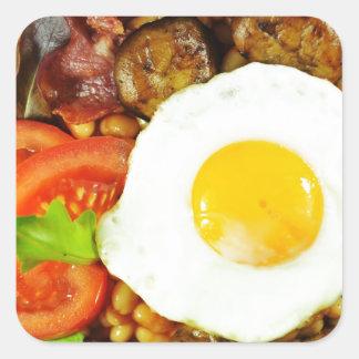 English breakfast design square sticker