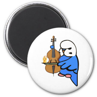 English Budgie Plays Bass Cello 2 Inch Round Magnet