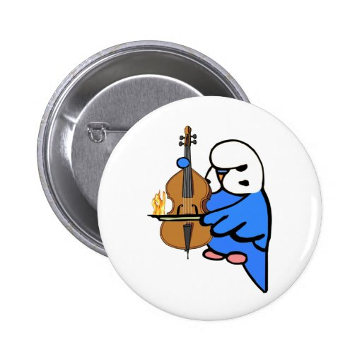 English Budgie Plays Bass Cello Pinback Buttons