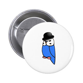 English Budgie with Hat 2 Inch Round Button