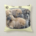 """English Bull Dog Puppies"" Pillow"