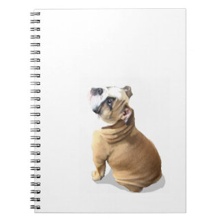English bull dog puppy with heart design CUSTOMIZE Spiral Notebook