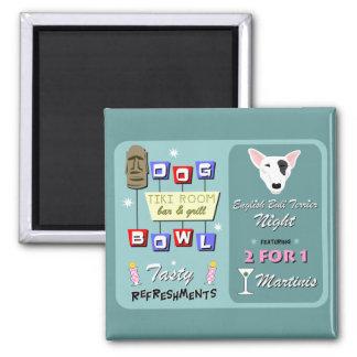 English Bull Terrier Bowling Tiki Night Refrigerator Magnet