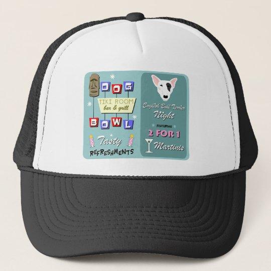 English Bull Terrier Bowling Tiki Night Trucker Hat