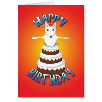 english bull terrier - cake - happy birthday greeting card