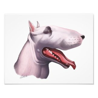 English Bull Terrier Caricature Photo Print