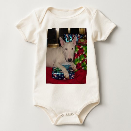 english bull terrier christmas present fireplace baby bodysuit
